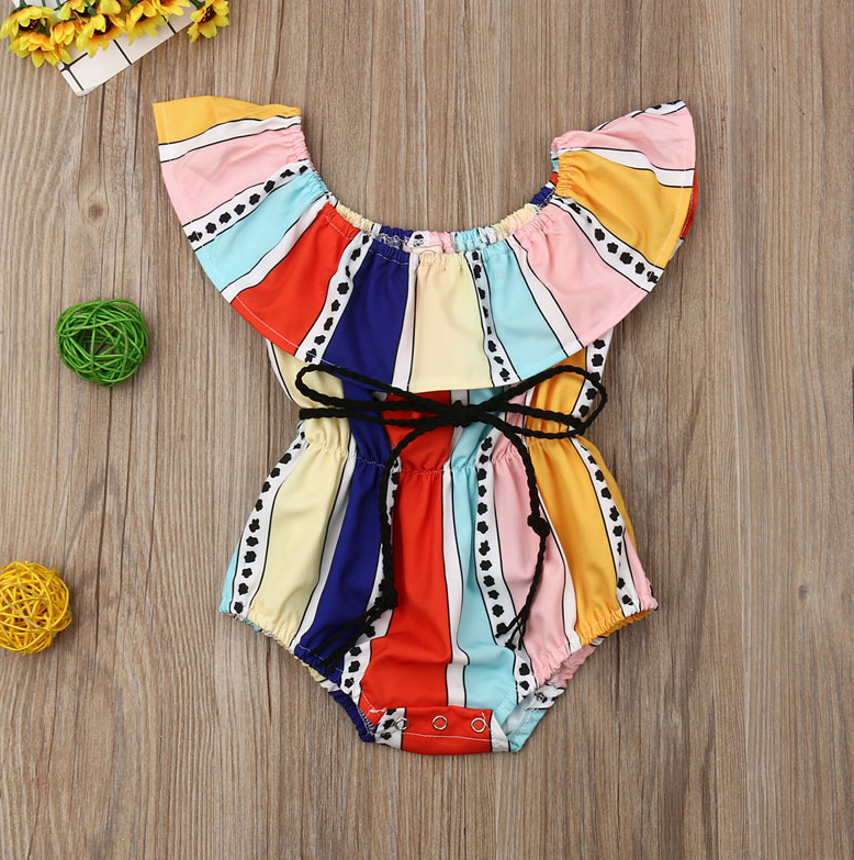 Baby Girls Striped Cotton Romper