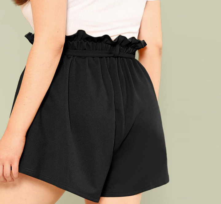 Solid Paperbag Waist Shorts (Plus Size)