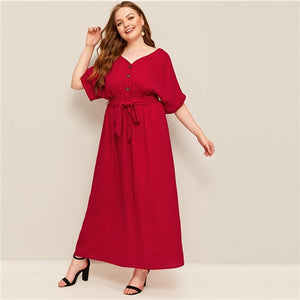 Plus Size Button Front Self Belted Maxi Dress