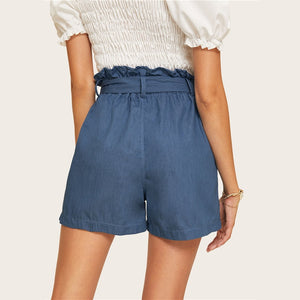 Casual Blue Paperbag Waist Twin Pocket Patched Belted Denim Shorts (Up to XL)