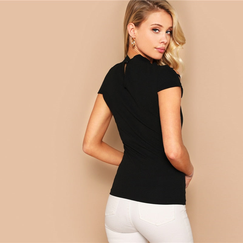 Black Keyhole Back Ladder Cut-out Form Fitting Tee