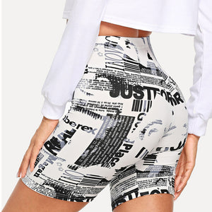 Modern Lady Black and White Allover Letter Print Cycling Crop Short Leggings