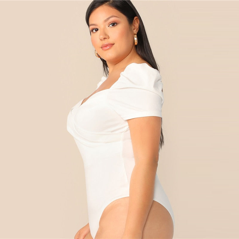 White Puff Sleeve Wrap Front Bodysuit (Plus Size)