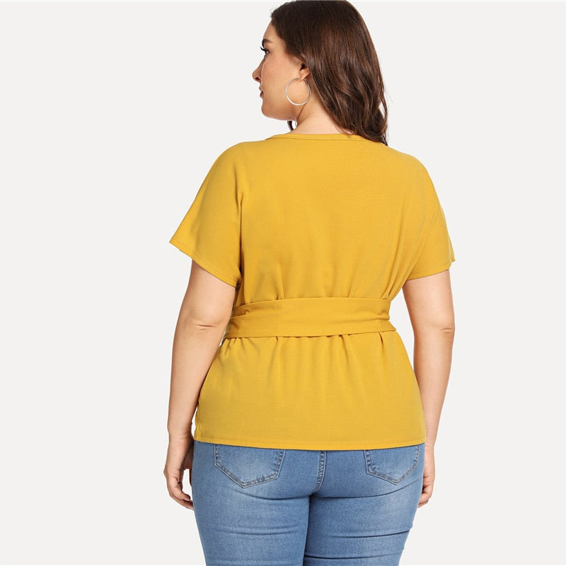 Ginger Casual Belted O Neck Raglan Short Sleeve (Plus Size)