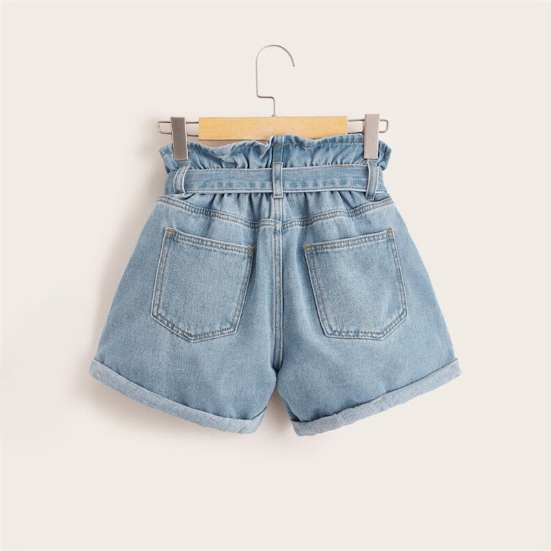 Blue Belt Paper-bag Waist Ripped Roll Hem Denim Shorts (Plus Size)