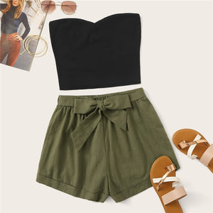 Solid Tube Crop Top and Belted Shorts Set (Plus Size)