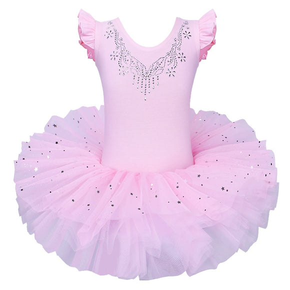 BAOHULU Girls Ballet Tutu Tulle Dress Sleeveless Gymnastics Leotard Diamond Pink Bow Pattern Ballet Leotard For Girl Ballerina