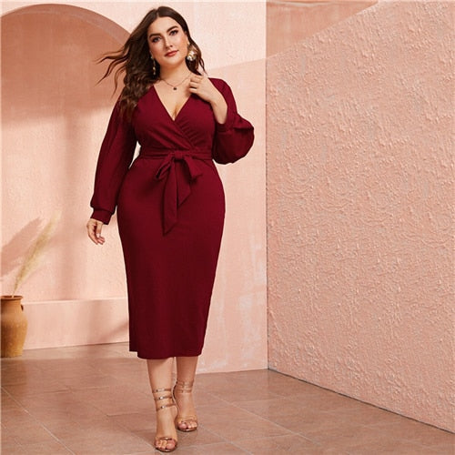 Plus Size Burgundy Plunging Neck Wrap Belted Dress