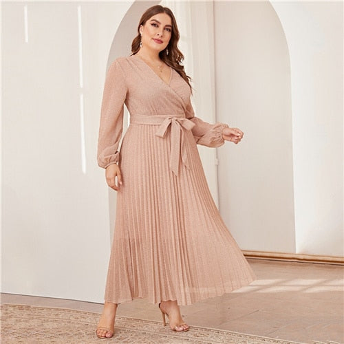 Plus Size Surplice Neck Lantern Sleeve Pleated Glitter Maxi Dress