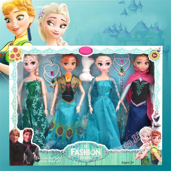 New 31cm Toys Princess Anna& Elsa Doll Girls 12 Movable Joints Birthday Gifts Cute Girls Pelucia Boneca Juguetes Titto Gift Set
