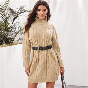 Khaki High Neck Cable Knit Sweater Dress With Belt