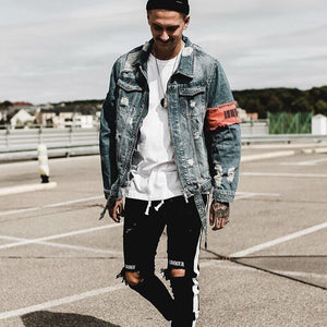 Men's Jean Jackets Streetwear Hip Hop Bomber Jacket