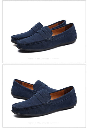 Soft Moccasins Men Loafers Genuine Leather Shoes Men Flats Gommino Driving Shoes,03 Navy,9.5