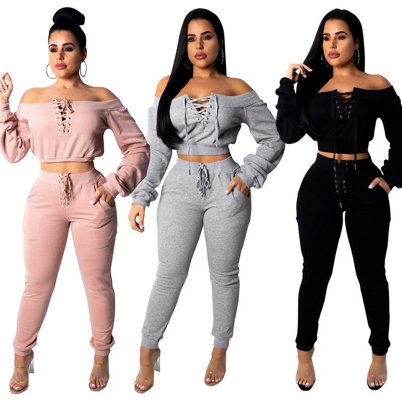 Casual Two Piece Off Shoulder Long Sleeve Crop Sweatshirts Top + Pockets Pants Tracksuit