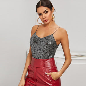 Beige V-Neck Silver Lining Sequin Cami Top