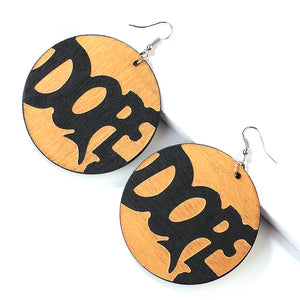 Ethnic Vintage African Pattern Round Wooden Earrings