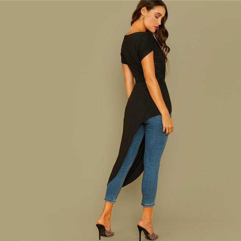 Black Off The Shoulder Twist Front Asymmetrical Hem Bardot Top