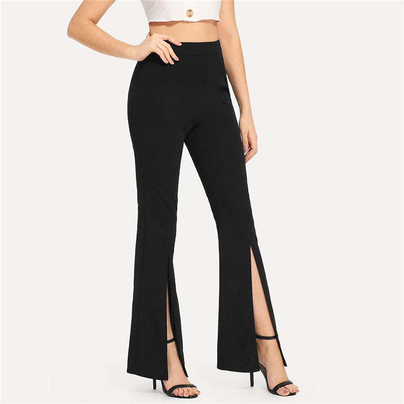 Black Split Solid Pants