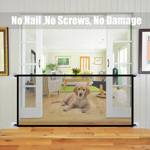 Pet Barrier Fences Portable Folding Breathable Mesh Dog Gate
