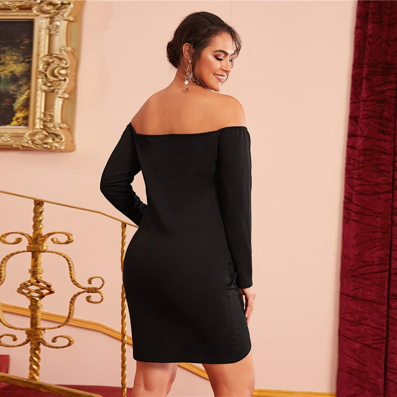 Off Shoulder Cross Wrap Ruched Detail Bardot Party Dress (Plus Size)
