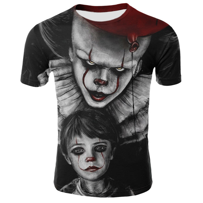 Horror Movie It Penny Wise Clown Joker 3D Print T-Shirt Men/Women