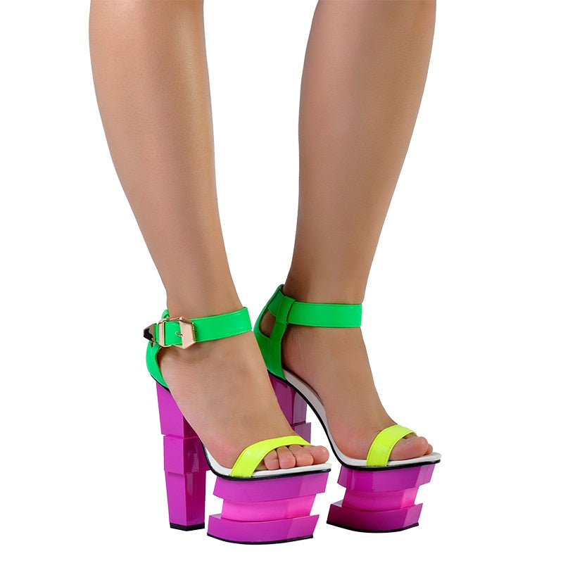 Multi-Color Chunky Platform Heels