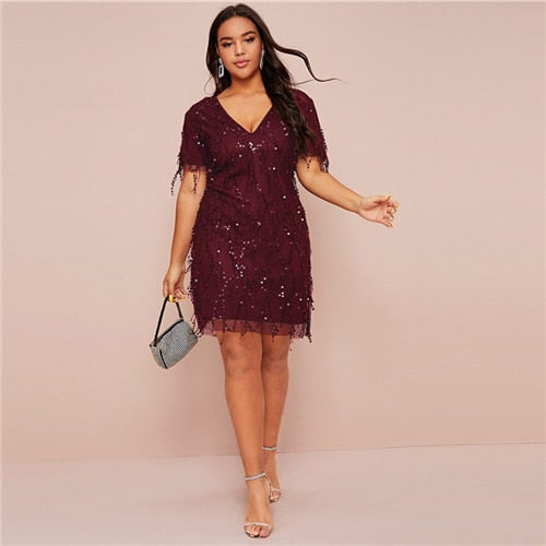 Glamorous Contrast Sequin Fitted Dress (Plus Size)
