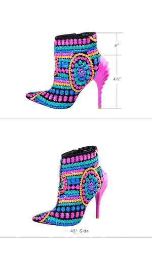 Sequined Cloth Fuchsia/Gold Bling Paillette High Heels