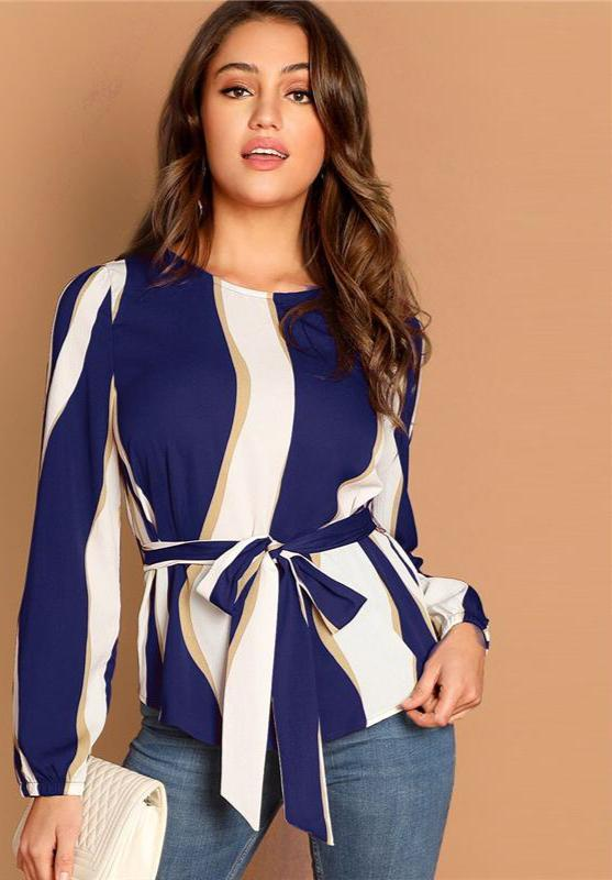 Modern Lady Navy Self Belted Striped Scoop Neck Blouse