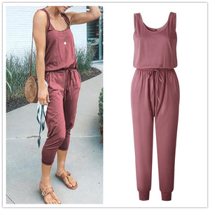 Sleeveless Laced Up Belt Jumpsuit Romper w/Pockets