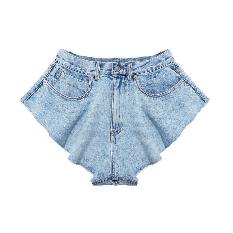 Casual Denim Shorts Skirts with High Waist and Ruffle Hem