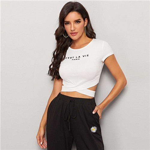Black Crisscross Hem Slogan Graphic Tee Crop Top