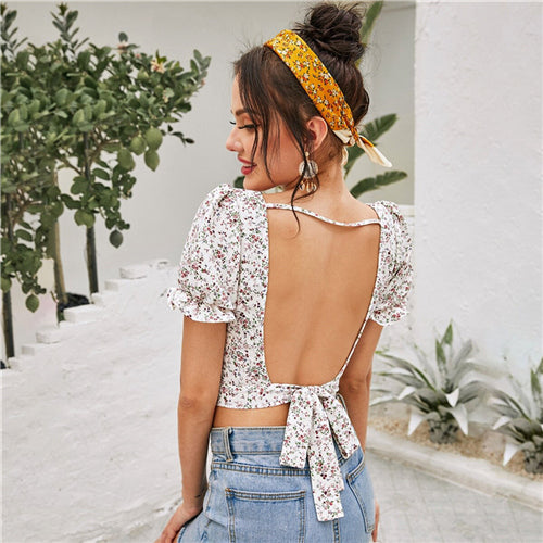 Multicolor Backless Knotted Ditsy Floral Print Crop Top