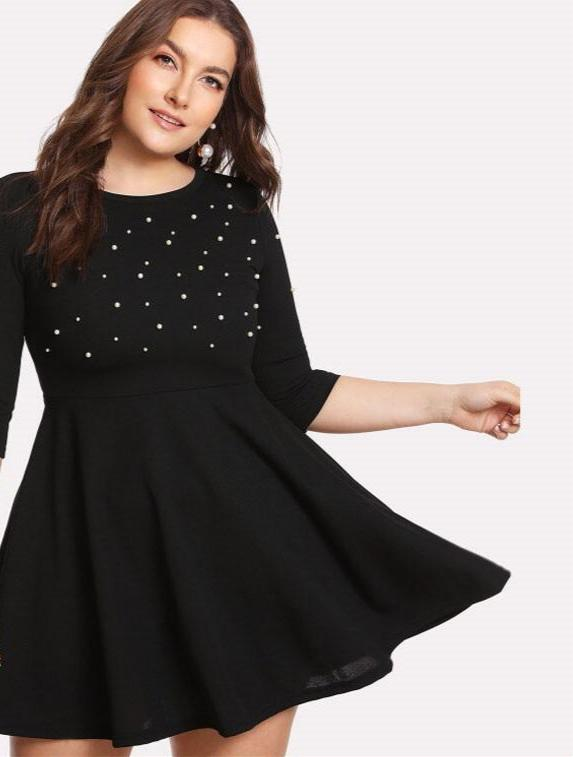 SHEIN Black Round Neck Spring Dress Plus Size