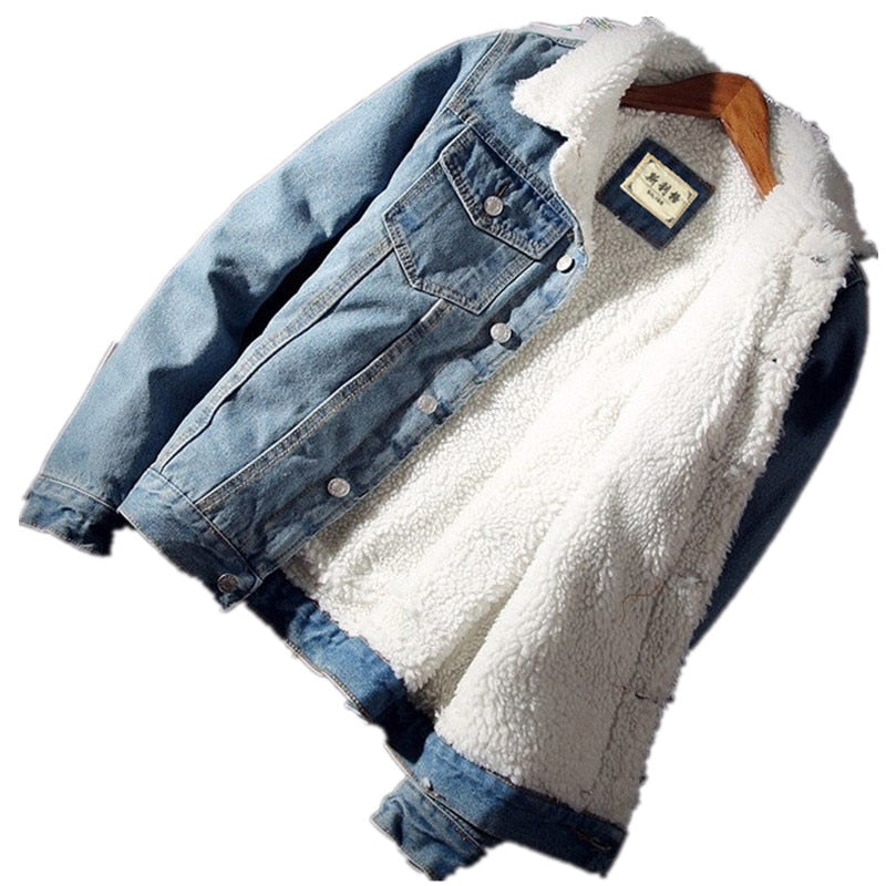 Men's Warm Fleece Thick Denim Jacket