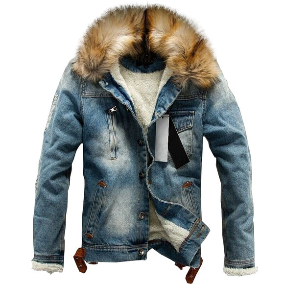 Men jeans jacket and coats denim thick warm winter outwear S-4XL LBZ21