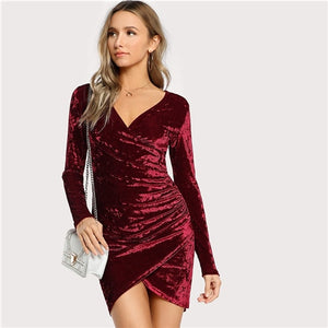 SHEIN Solid Ruched Overlap Long Sleeve Pencil Dress