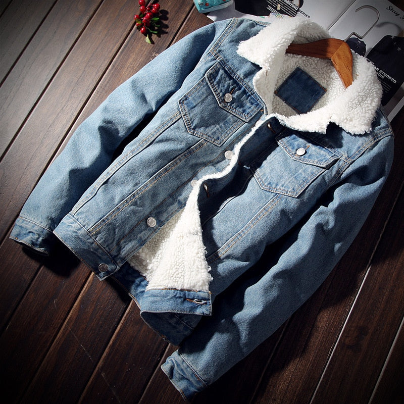 Men's Trendy Warm Fleece Denim Jacket