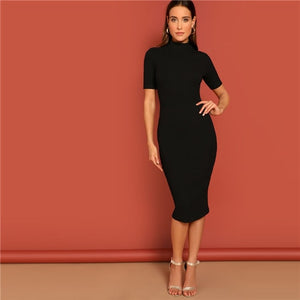 Black Mock Neck Rib-knit Pencil Stretchy Bodycon Dress