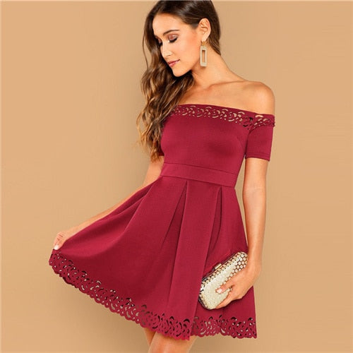 Elegant Off Shoulder Laser Cut Fit and Flare Mid Waist Mini Dress