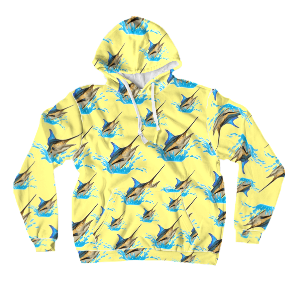 Blue Marlin All-Over Print Pullover Hoodies