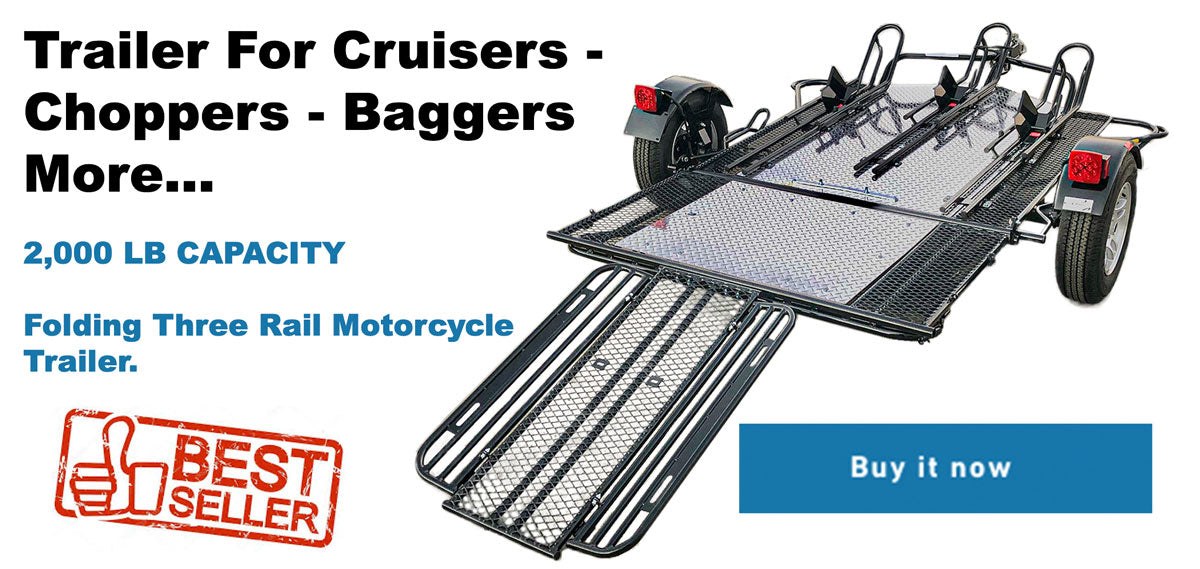 Trailer for motorcycles folds and stands for storage. The best motorcycle trailer  money can buy