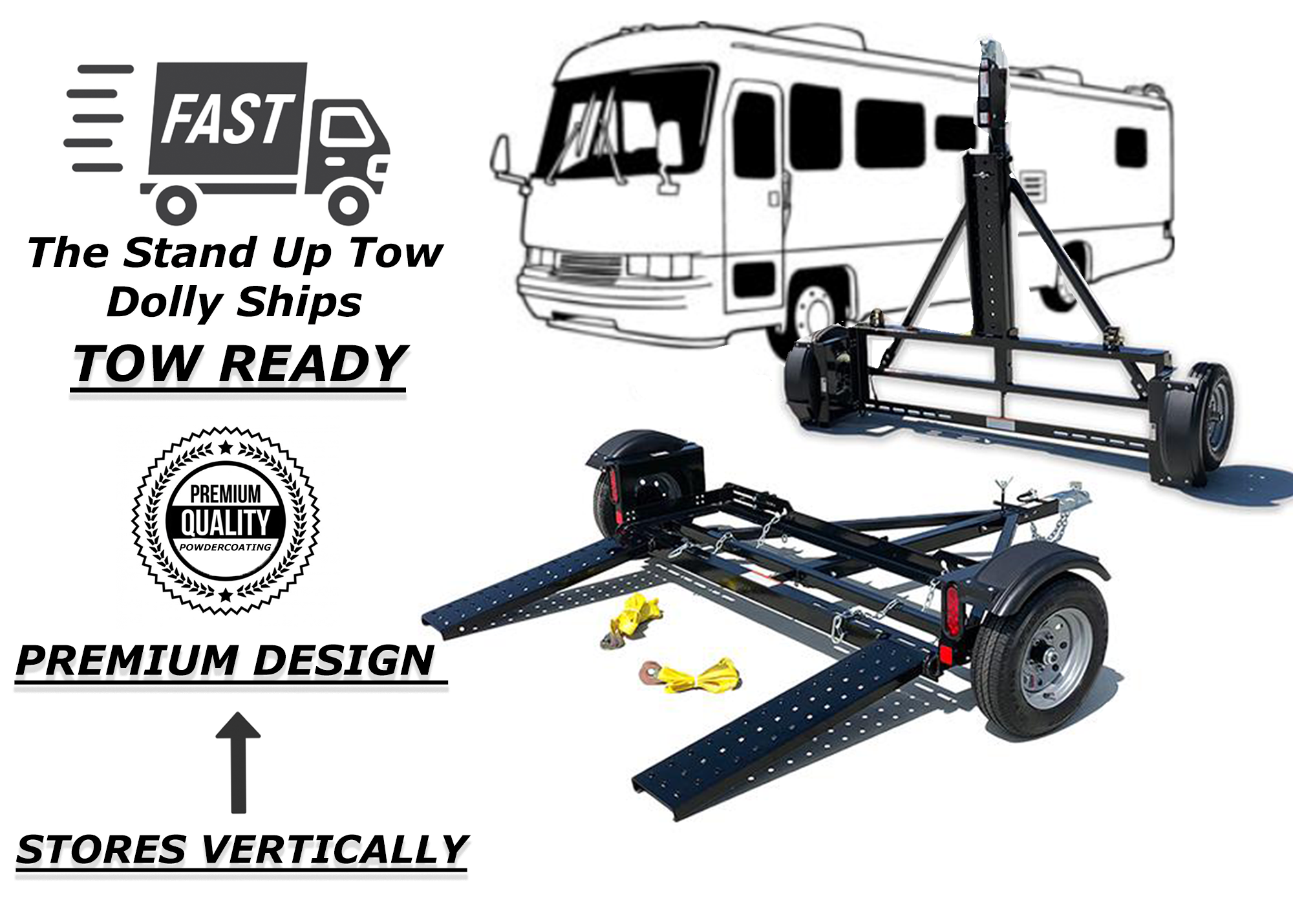 TOW DOLLY FOR MOTORHOME RV, STORES UPRIGHT MASTER TOW CAR TOW DOLLY