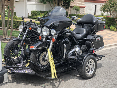Motorcycle Trailer with 2 Full size Harley Davidson, Stand out with a Three Rail Motorcycle Trailer