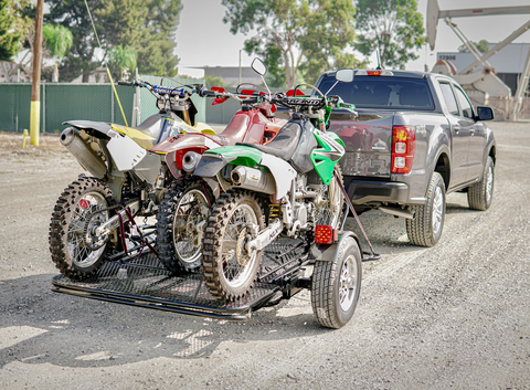 Three Rail Dirt bike trailer- Yamaha -Kawasaki - KZ- Stand up motorcycle trailer