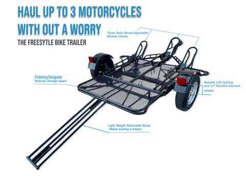 Three Rail Dirt bike Stand up motorcycle trailer the little Giant