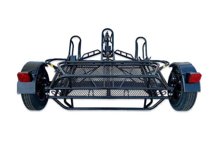 Folding Trailer For motorcycles such as Dirt bikes , Sportbikes , Scooters and more . Haul a Harley as well. Stands out from other motorcycle trailer