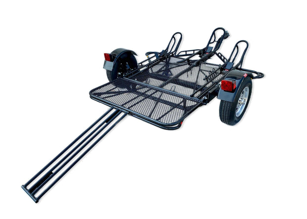 Dirt bike trailer, trailer up to three motorcycles. Folds away for storage. Single Rail Dirt bike trailer Stand out Trailer Up