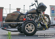 The single Rail motorcycle fold up motorcycle trailer with Premium Wheels one wheel chock. Ships to your home. Stand out from the competition with premium wheels