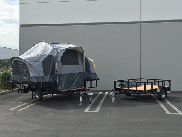 Utility Trailer Combo with Camping tent trailer pops open